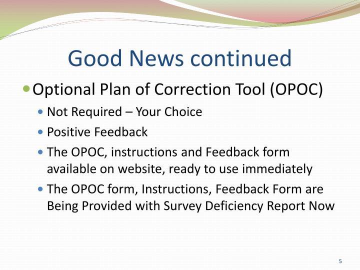 Good News continued