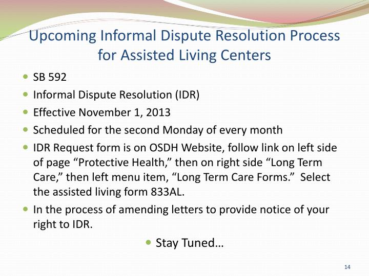 Upcoming Informal Dispute Resolution Process for Assisted Living Centers