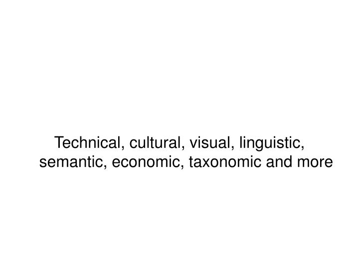 Technical, cultural, visual, linguistic, semantic, economic, taxonomic and more