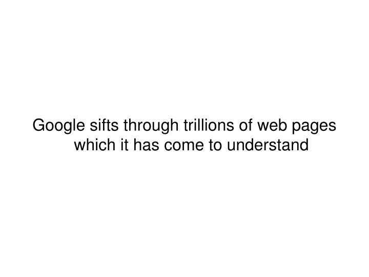 Google sifts through trillions of web pages