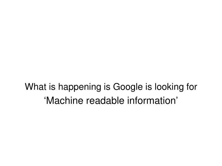 What is happening is Google is looking for