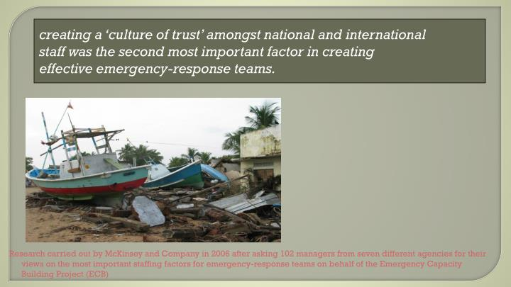 creating a 'culture of trust' amongst national and international