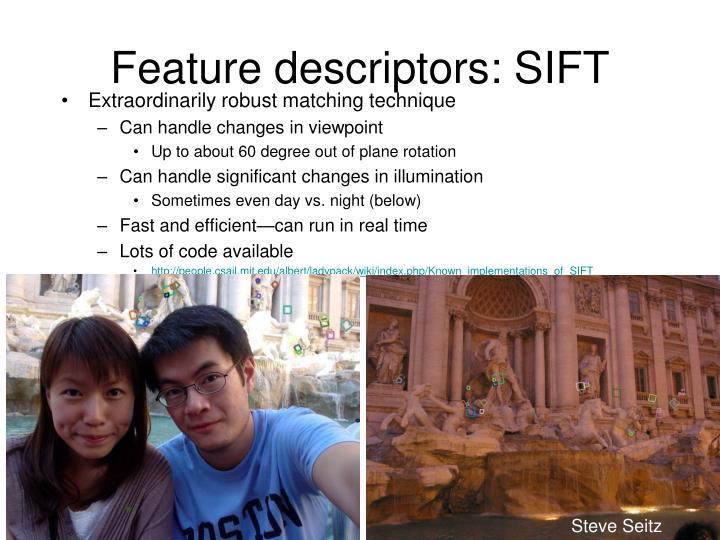 Feature descriptors: SIFT