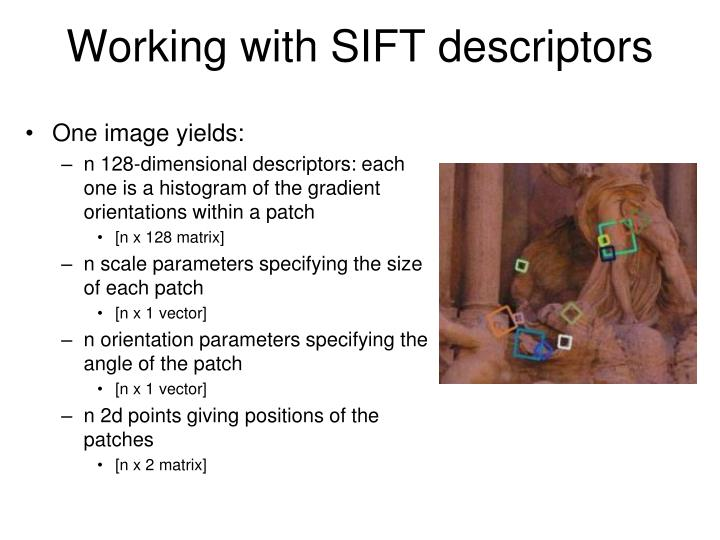 Working with SIFT descriptors