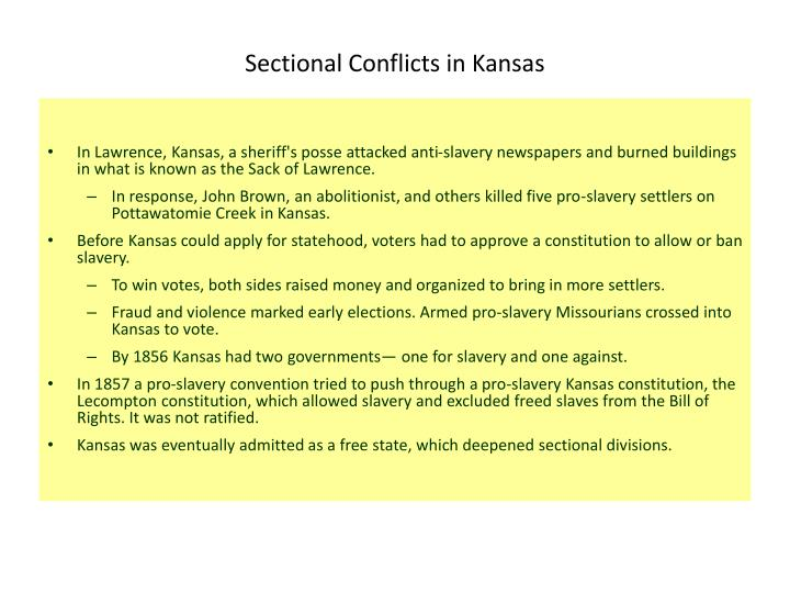 Sectional Conflicts in Kansas