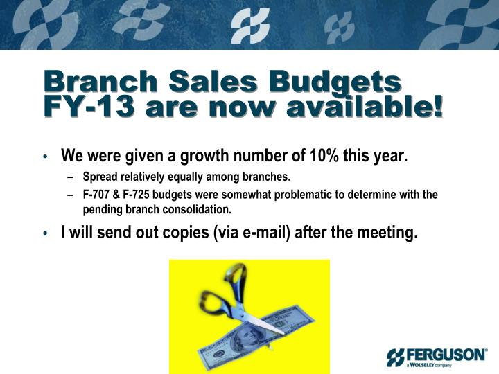 Branch Sales Budgets FY-13 are now available!