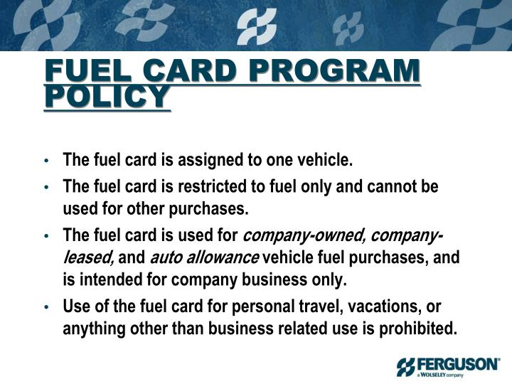 FUEL CARD PROGRAM POLICY