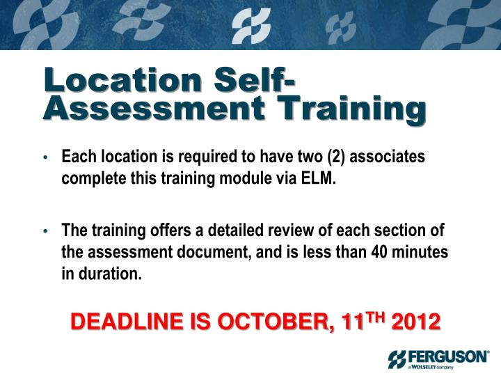 Location Self-Assessment Training
