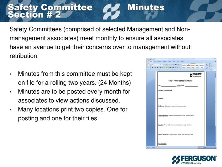 Safety Committee            Minutes