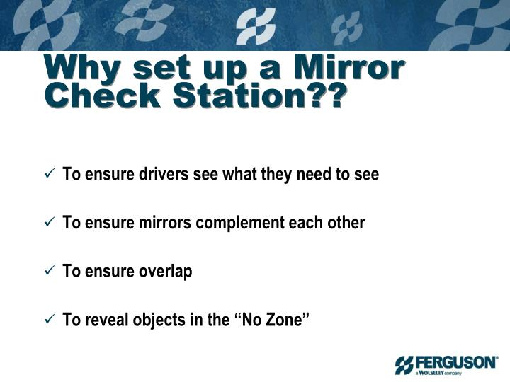 Why set up a Mirror Check Station??