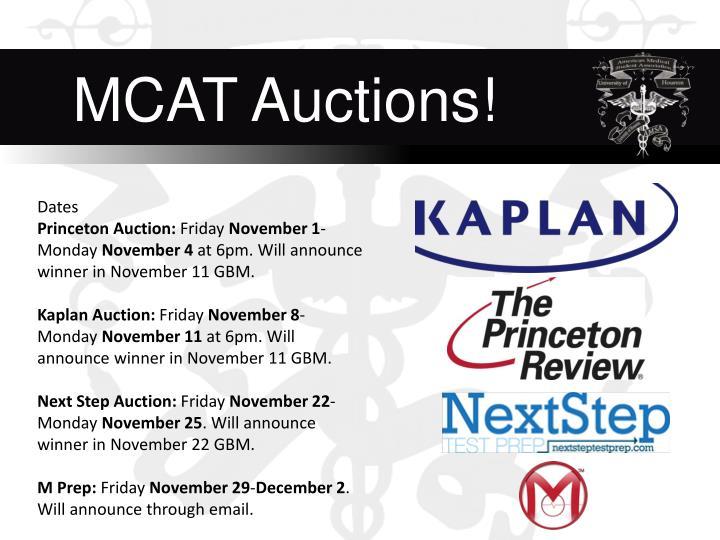 MCAT Auctions!