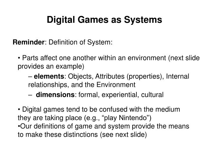 Digital Games as Systems