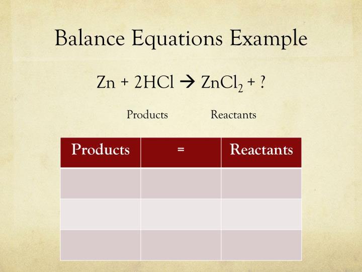 Balance Equations Example
