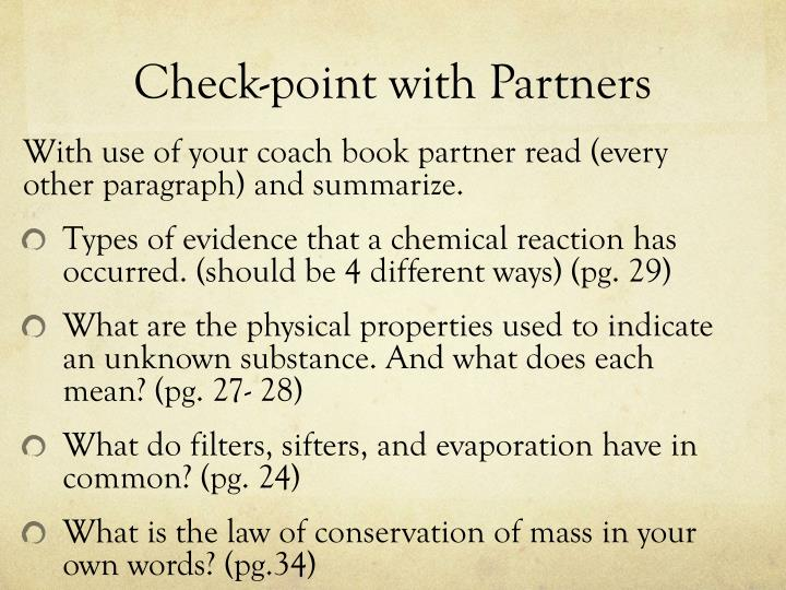 Check-point with Partners