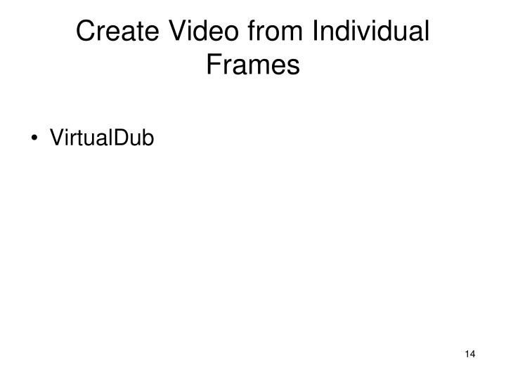 Create Video from Individual Frames