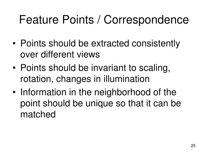 Feature Points / Correspondence