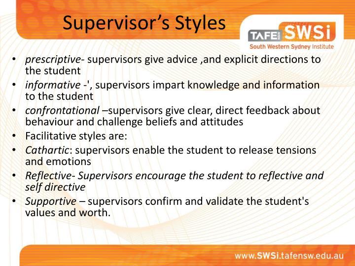 Supervisor's Styles