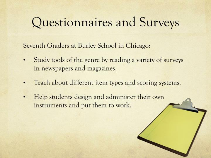 Questionnaires and surveys