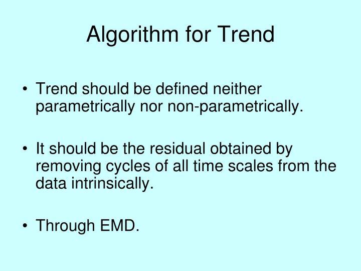 Algorithm for Trend