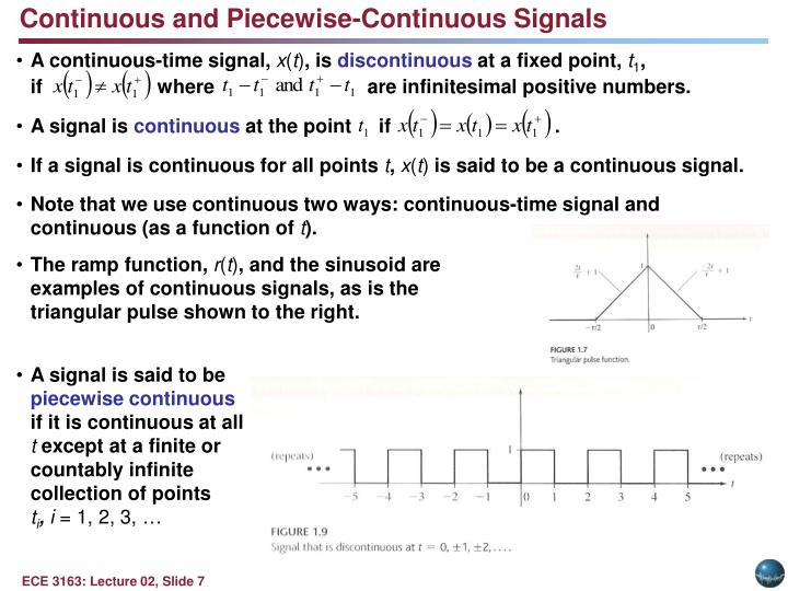 Continuous and Piecewise-Continuous Signals