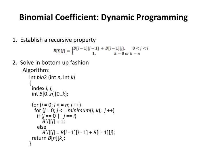 Binomial Coefficient: Dynamic Programming