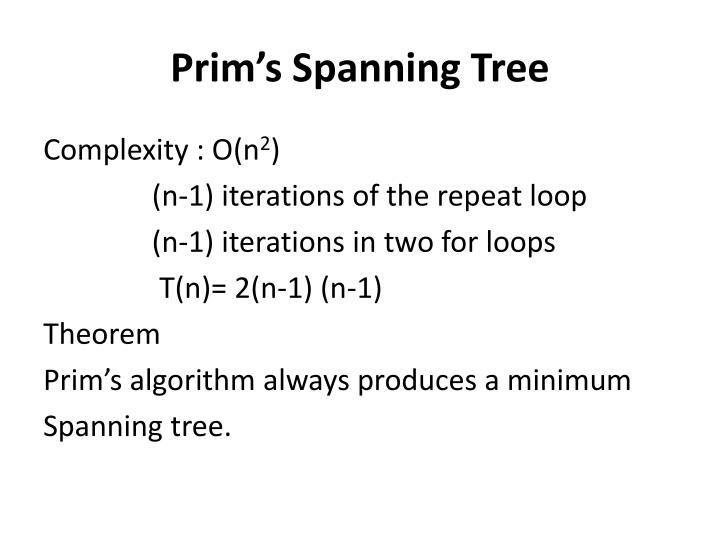 Prim's Spanning Tree