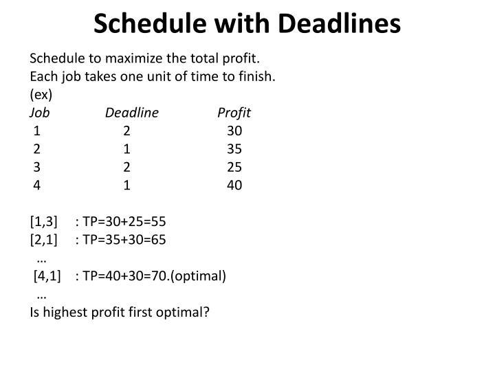Schedule with Deadlines