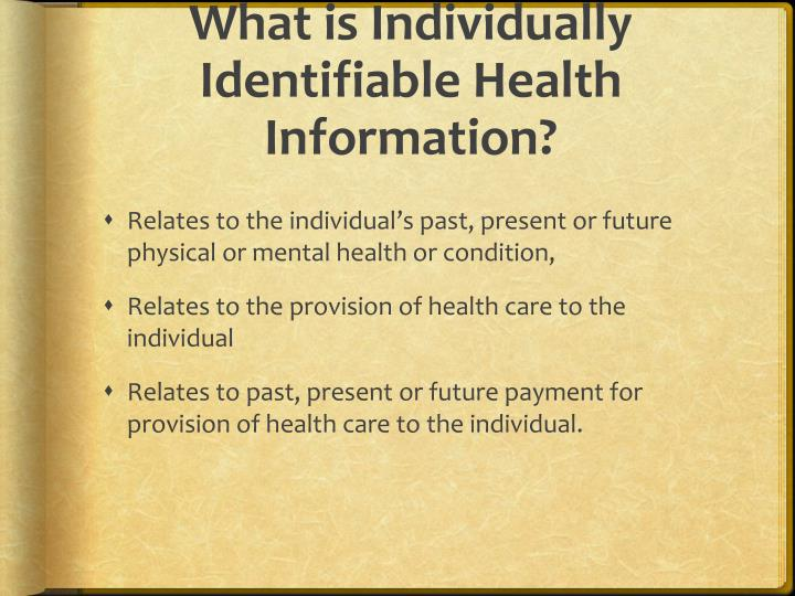 What is Individually Identifiable Health Information?