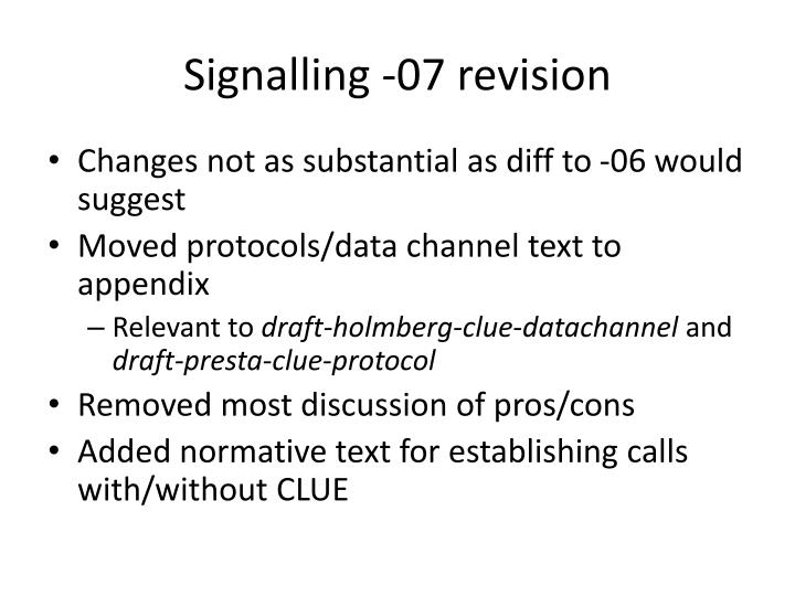 Signalling 07 revision