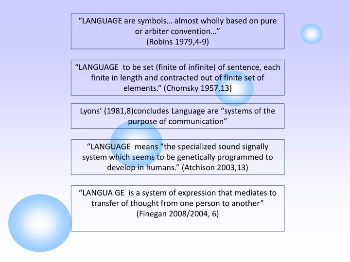 """LANGUAGE are symbols… almost wholly based on pure or arbiter convention…"""