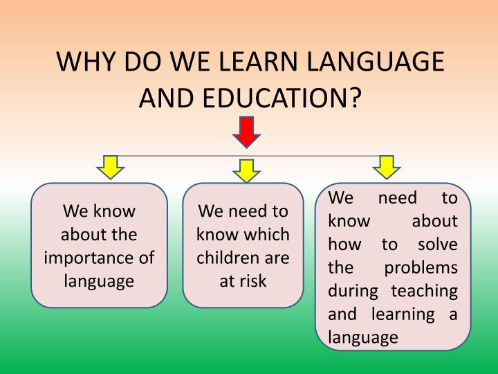 WHY DO WE LEARN LANGUAGE AND EDUCATION?