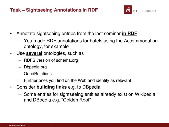 Task – Sightseeing Annotations in RDF