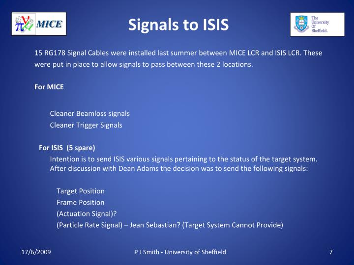 Signals to ISIS