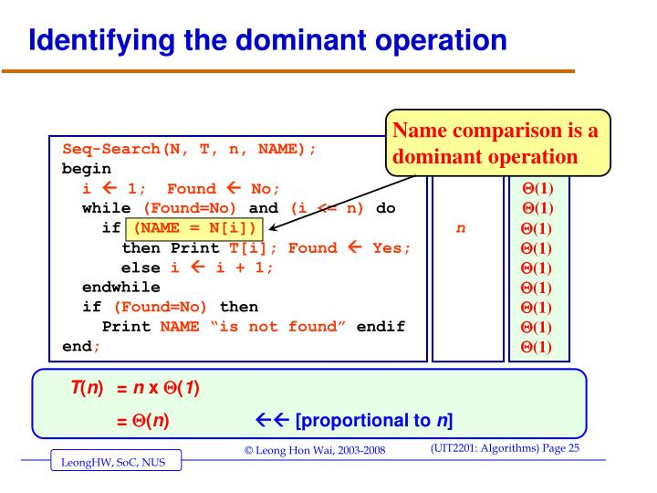 Identifying the dominant operation
