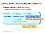 one problem many algorithmic solutions