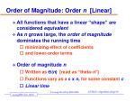 order of magnitude order n linear