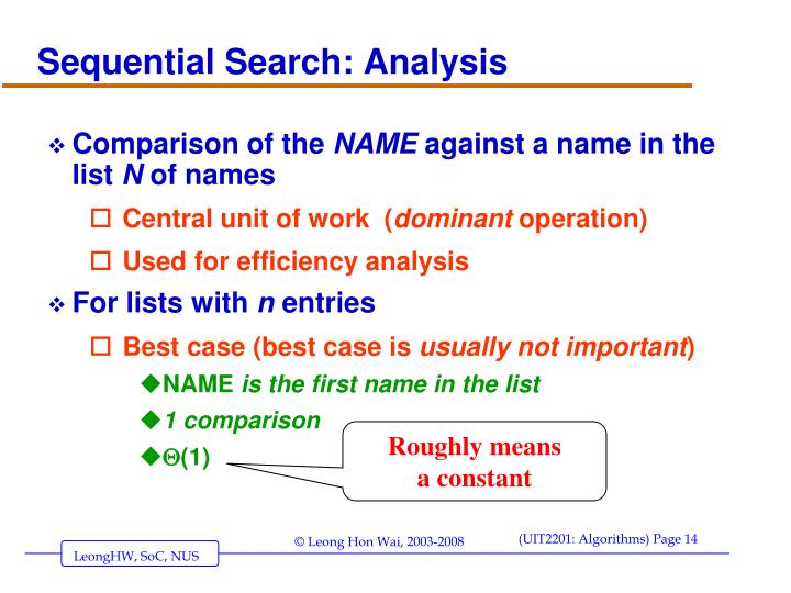 Sequential Search: Analysis