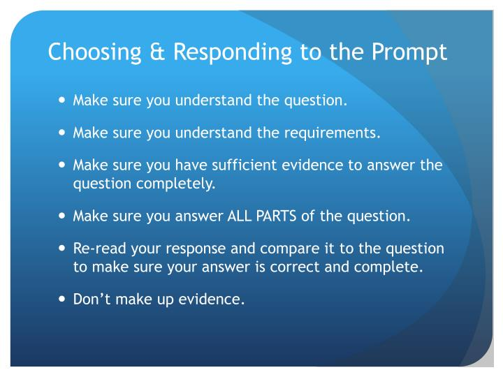 Choosing & Responding to the Prompt