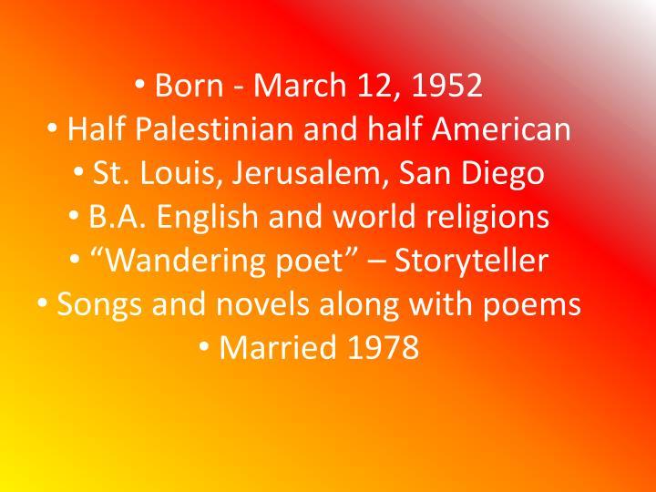 Born - March 12, 1952