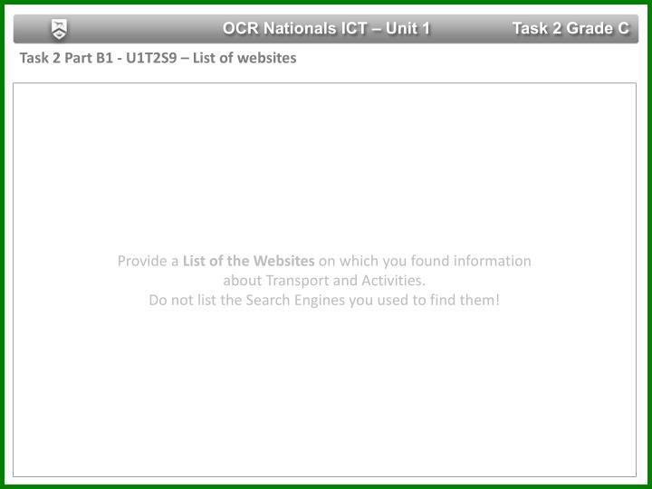 OCR Nationals ICT – Unit 1