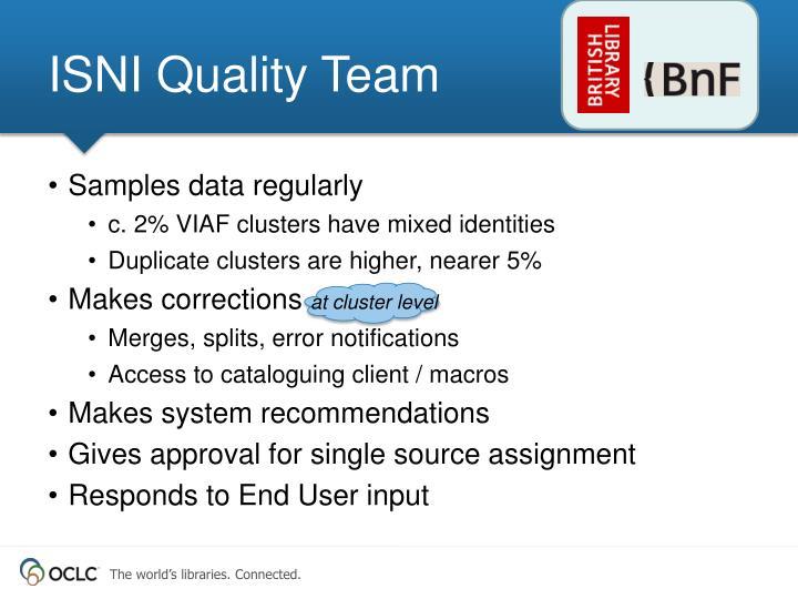 ISNI Quality Team