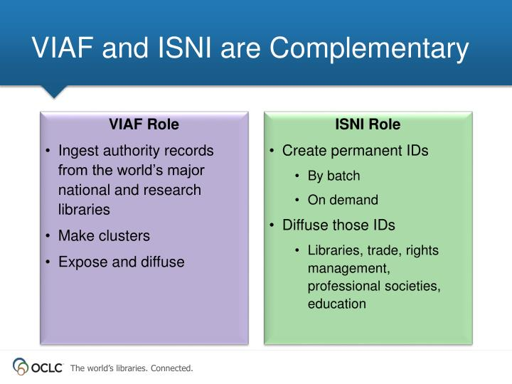 VIAF and ISNI are Complementary