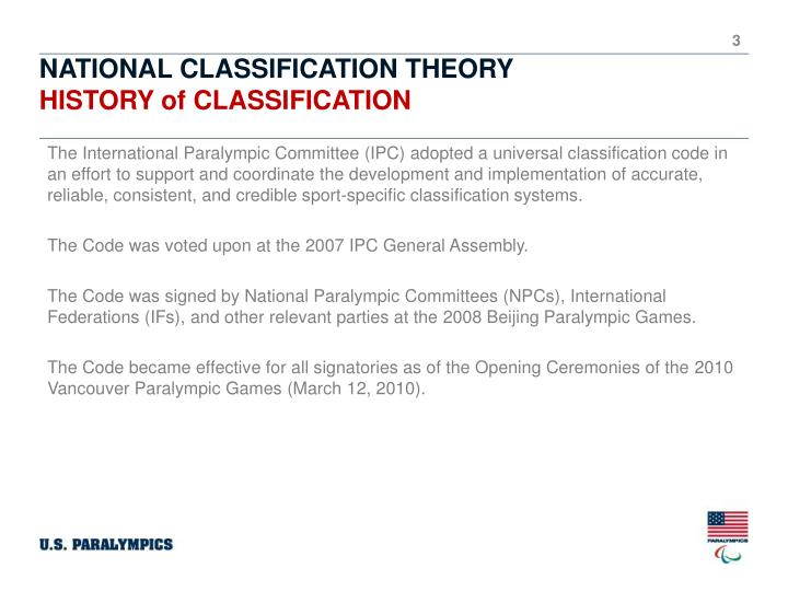 National classification theory history of classification