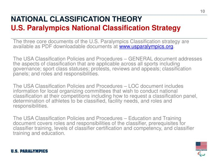 The three core documents of the U.S. Paralympics Classification strategy are available as PDF downloadable documents at