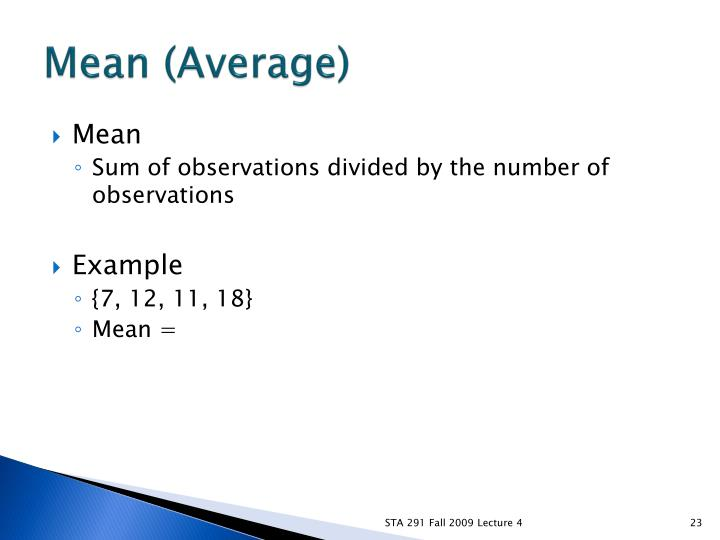 Mean (Average)