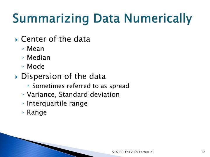 Summarizing Data Numerically