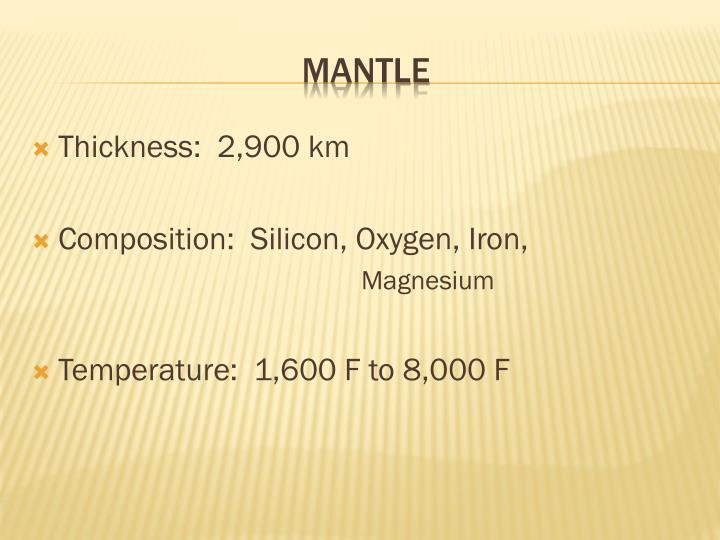 Thickness:  2,900 km