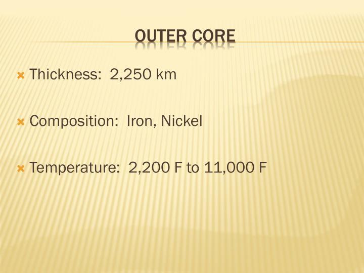 Thickness:  2,250 km