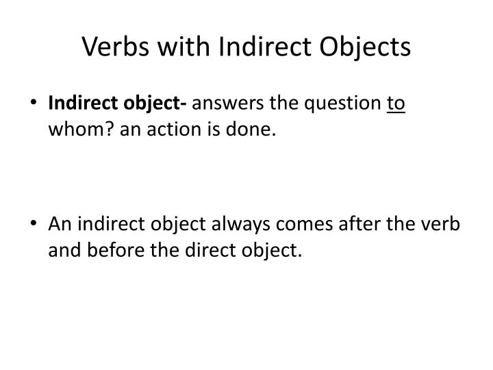Verbs with indirect objects