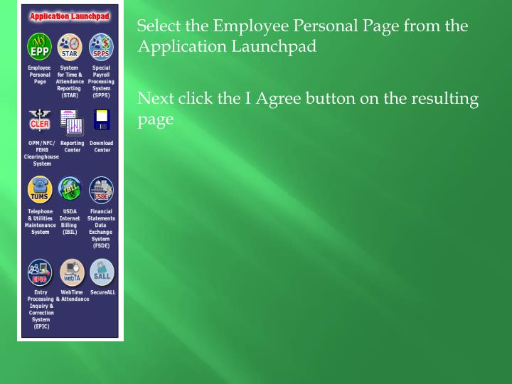 Select the Employee Personal Page from the Application Launchpad